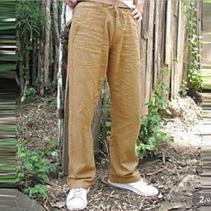 Men's Casual Linen Trousers Elasticized Waist XL